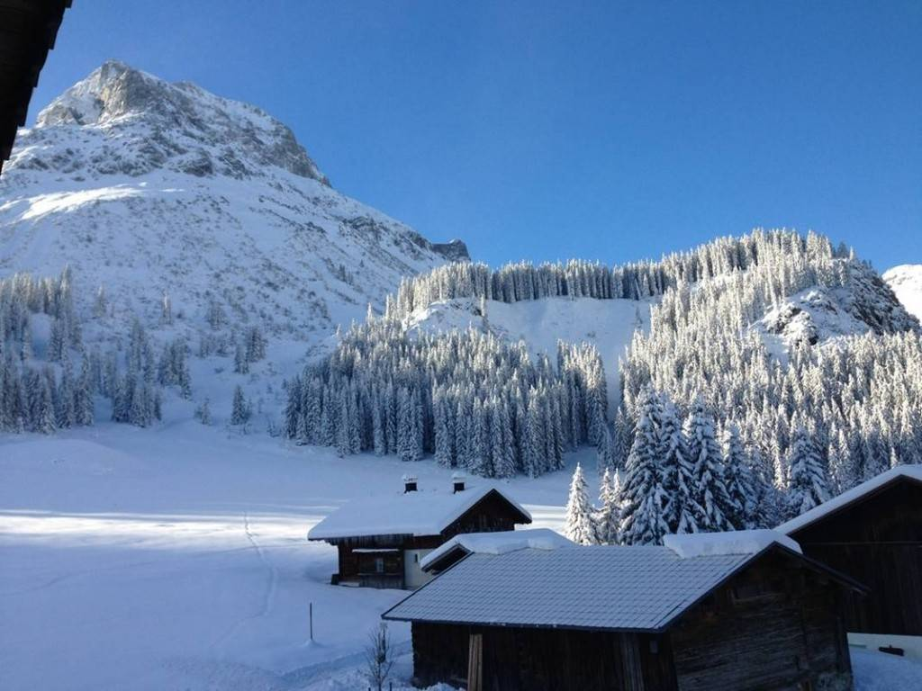 Snowy landscape on a sunny day in October in Lech am Arlberg